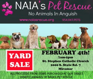 YARD SALE BENEFITING NAIA'S PETS